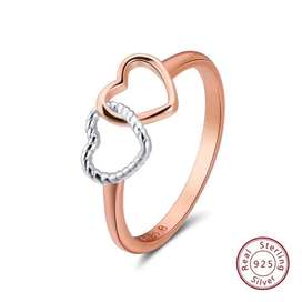 Double Heart 925 Silver Ring
