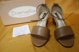 Sepatu Strap Heel Brown Nude Kekinian Murmer