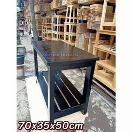 Meja kayu jatilanda 70x35x50cm meja tv kompor rak dispenser susun 2