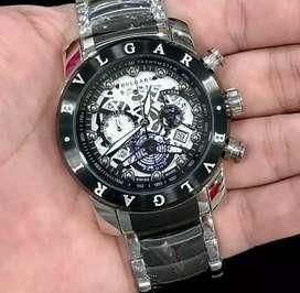 jam tangan bulgari mewah+chrono on akulturasi warna white black keren