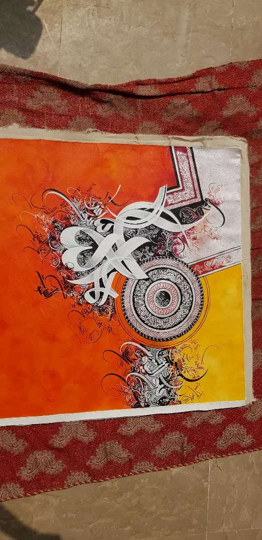 Abstract calligraphy oil on canvas (handmade)