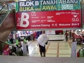 Turun Harga!!! Dijual Murah Kios di Tanah Abang Blok B Lantai 1