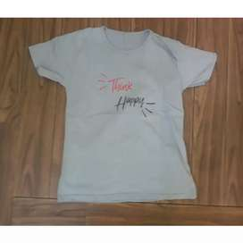 KAOS/T-SHIRT TUMBLR TEE WANITA // THINK HAPPY (GRAY)