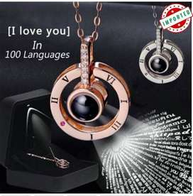 New Rose Gold Silver 100 Languages Romantic Necklace Wedding Necklace