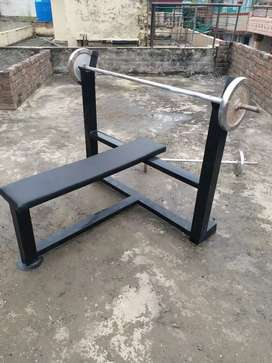 exercise bench rubber coated dumbbells crome plates and rod
