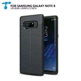Case Galaxy Note 8 Auto Focus Rubber Leather Style Full Black New