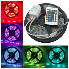 Lampu led strip RGB warna warni 5 meter ac 220 v + Adapter+Remote ID93