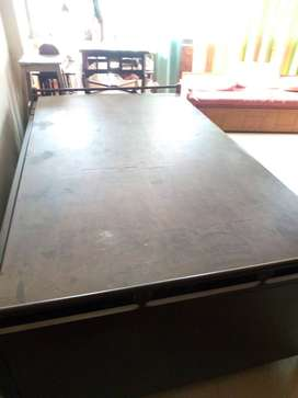 Mild Steel Cot with plywood bed board 6 by 4 ft.