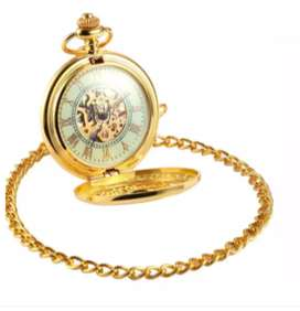 W079 Gold Shell Luminous Roman Pocket Watch Nightvision Skeleton Pocke