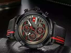 jam tangan swiss army black red 3 chrono on ,leather strap nyaman