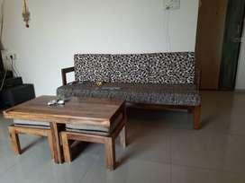 Sheesham wood 3+1+1 seater sofa with cofee table