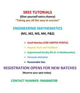 Tuition for engineering Mathematics.