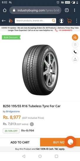 bridgestone 195/55r16 b250 2 tyre and one magweel Honda i20 car