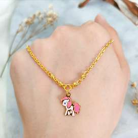 Kalung anak Liontin Branded Medallion Necklace Gold Toko Emas asli