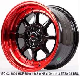 Velg ori SC-03 8003 HSR R16X8/9 H8X100-114,3 ET30/25 BK/RED