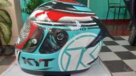 Helm Fullface KYT R10 Aqua Blue (Flat & Pinlock) ukuran XL