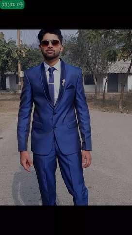 Royal blue tuxedo 3 piece suit