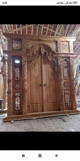 Pintu kusen gebyok kayu Jati holkan
