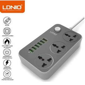 LDNIO 6 USB Charger Adapter + Power Socket 3 AC,2500W 10A
