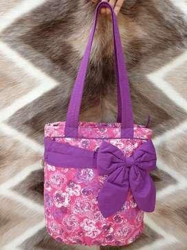 Tas import eks NARAYA made in Thailand kain tebal berbusa pink ungu