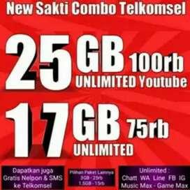 KARTU SAKTI TELKOMSEL |17GB=75RB|25GB=100RB| GRATIS YOUTUBE TELPON SMS