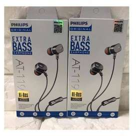 Headset PHILIPS AT-119 Universall dengan Mic + Bass suara mempesona