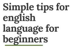 English Language Classes for beginners