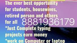 Typing work for all areas in India promotion payment
