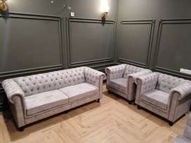 New sofa set Seven Seater full tufted in imported shaineel fabric