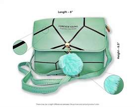 New Style Light Sea Green Leather Shoulder / Cross Body Bag For Girls