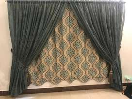 JUTE Blind with FULL EMBROIDERED ORGANZA Curtain, Tassel & Rug, 10/10