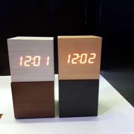 Jam Meja Motif Kayu - Digital LED Wooden Clock - WC-400 Original 100%