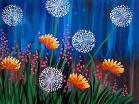 lukisan kanvas musim bunga
