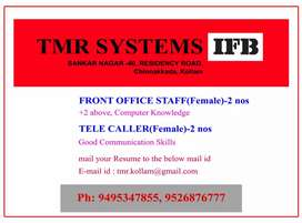 Front office staff . Urgent Requirement