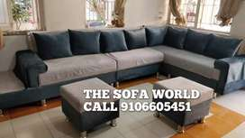 Brand New Nexa collection sofa set with stools and cushion