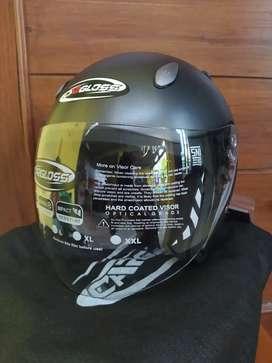 Special Promo Helm Cargloss YCN CR Half Face Gun Metal SGdoff Original