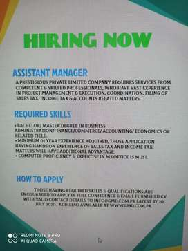Assistant Manager(Male/Female)