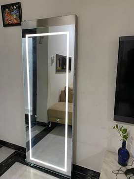 Full length Salon Mirrors with lighting and attached tray