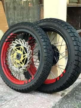 Ban swallow street enduro sepasang dan velg rossi sprint xd ring 17