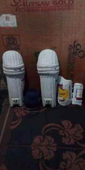 Cricket- thaee pad,elbow pad,halmet.
