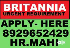 Britannia Company Full Time Job Helper Store keeper Supervisor.. Apply