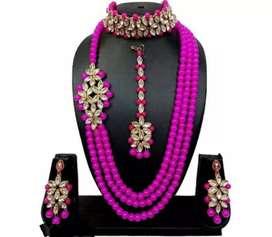 Pink Jewellery set with choker n maangtikkA