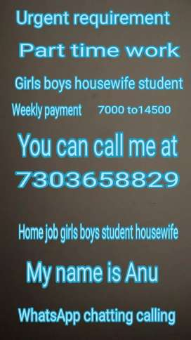 Urgent requirement housewife student girls boys weekly payment