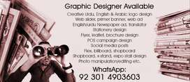Freelance Graphic Designer available with 25% IN ADVANCE