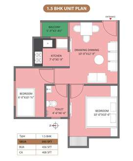 This is 1.5 BHK Apartment available in the Integrated Society.