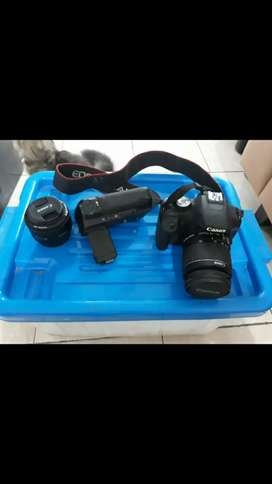 Kamera DSLR Canon 500D + Lensa Kit + Lensa Fix 50mm