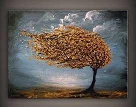 lukisan kanvas pohon
