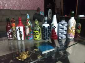 painting bottle art. hand made paintings