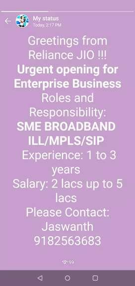 Enterprise Sales Officer -JIO