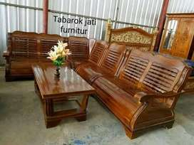 Sofa tamu sudut minimalis mewah, Bahan kayu jati tua asli